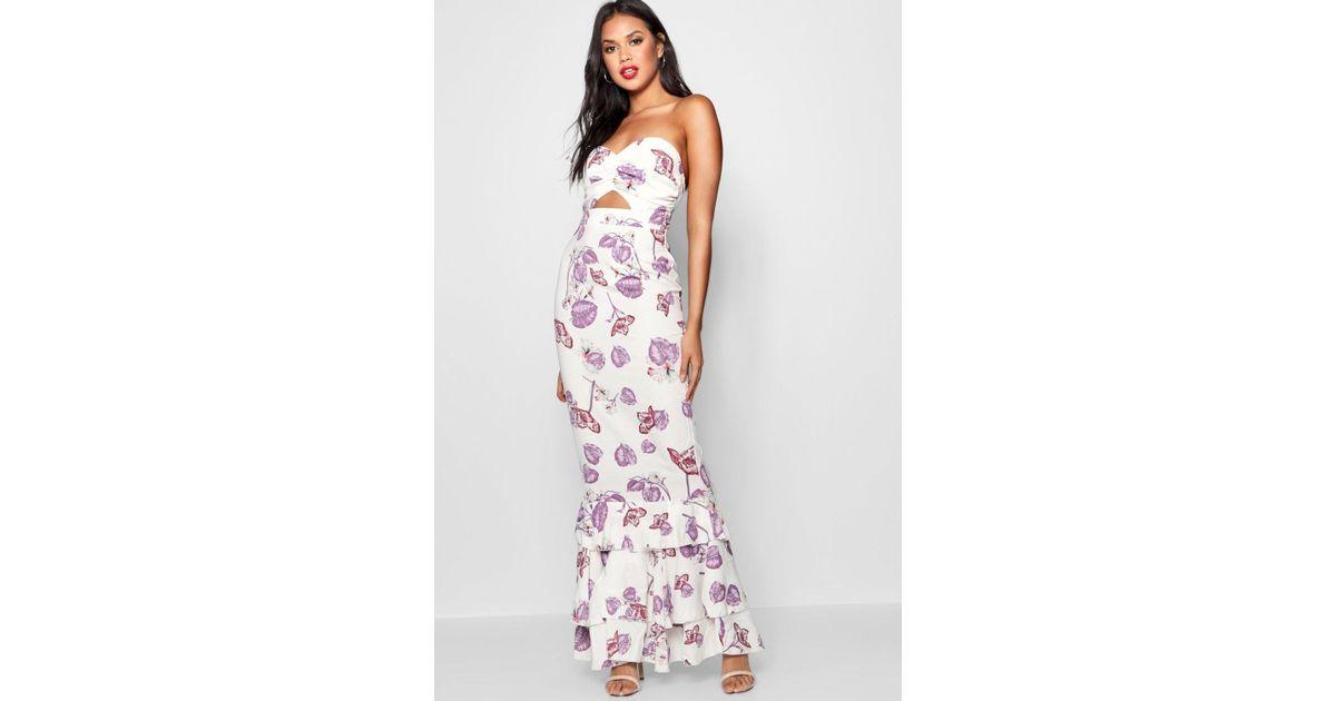40f7f7db9b9 Lyst - Boohoo Floral Print Ruffle Detail Maxi Dress in White
