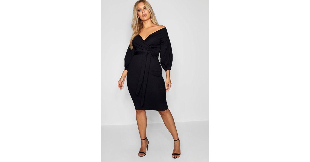 9383c5e562ba Boohoo Plus Off The Shoulder Wrap Midi Dress in Black - Save 56% - Lyst