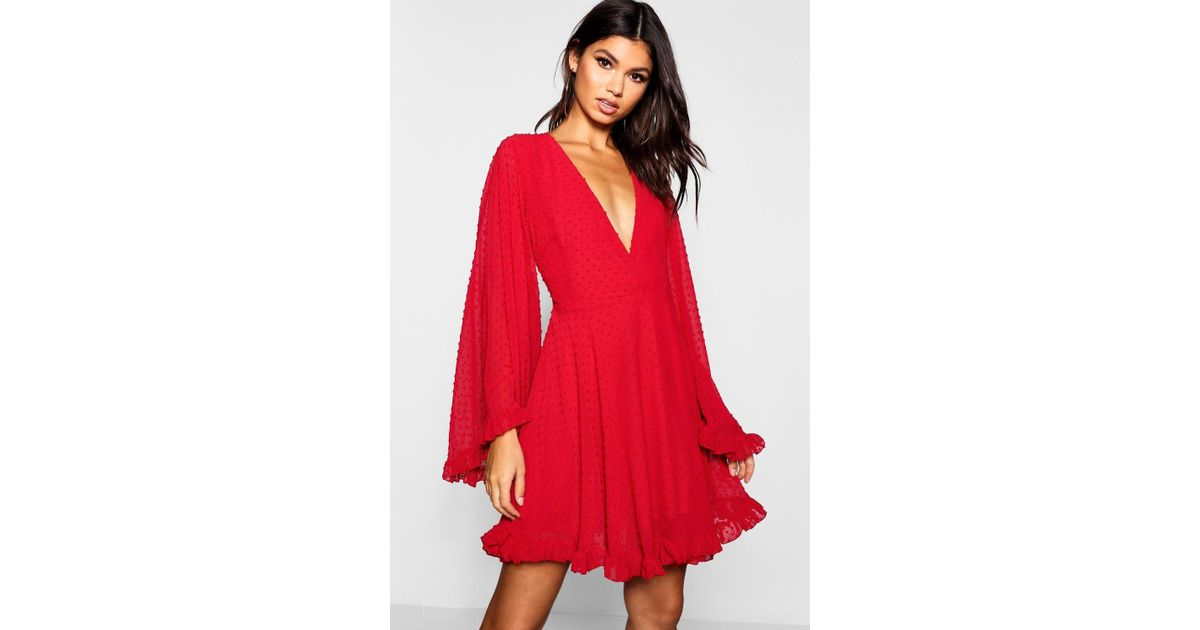 52bb6d174057 Lyst - Boohoo Dobby Chiffon Wide Sleeve Skater Dress in Red