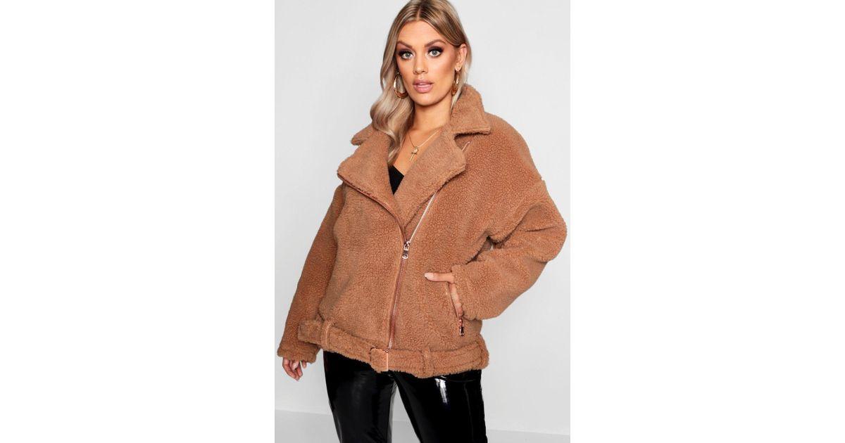 d07d72fe02 Boohoo Plus Teddy Faux Fur Biker Jacket in Brown - Lyst