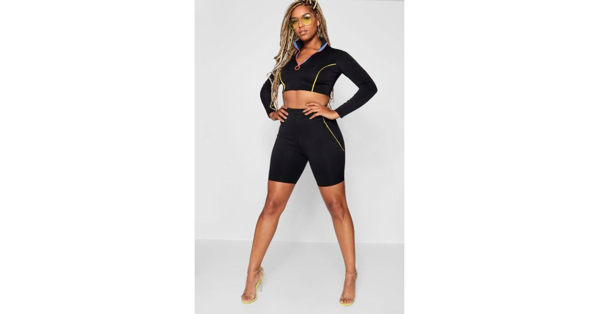 b382715c5ea1 Boohoo Contrast Piping Cycling Short in Black - Lyst