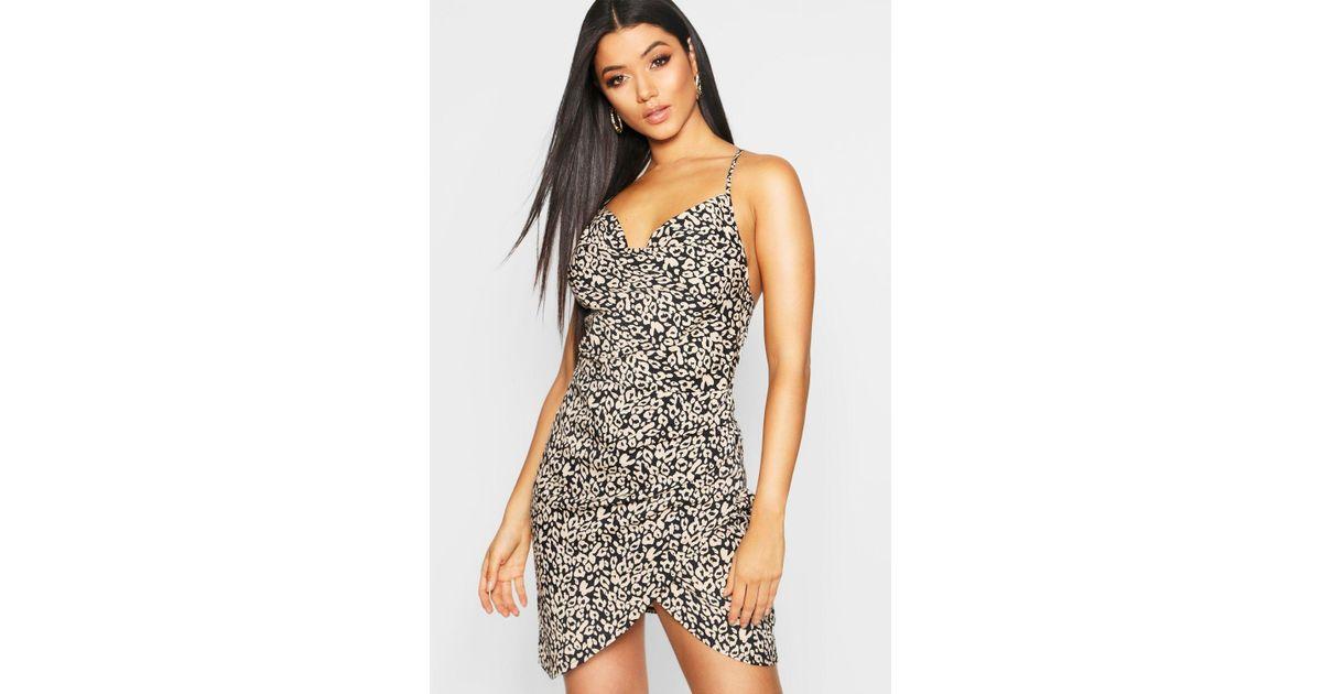 Lyst - Boohoo Satin Strappy Leopard Print Mini Slip Dress in Black d0ab3aece