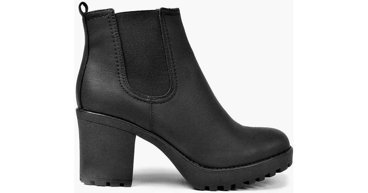 Lyst - Boohoo Tia Chunky Cleated Heel Chelsea Boot in Black f6c7e8ca5