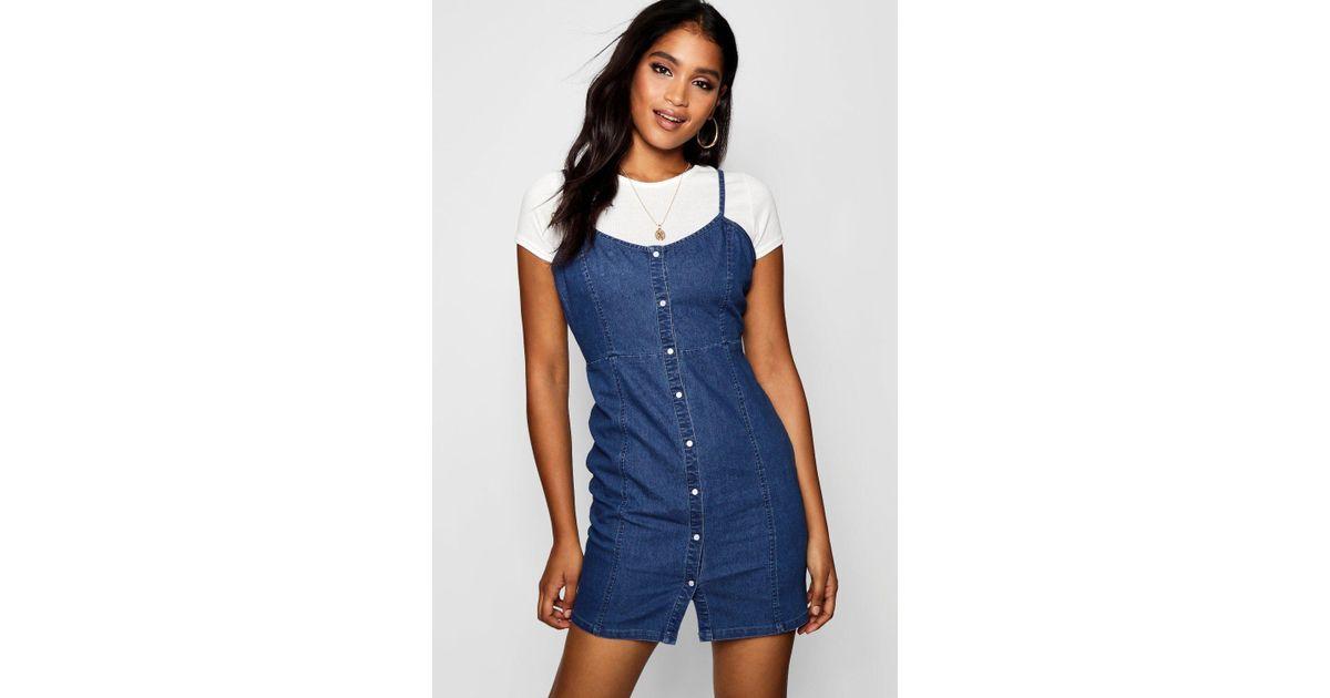 9b34733194 Lyst - Boohoo Strappy Popper Front Denim Dress in Blue
