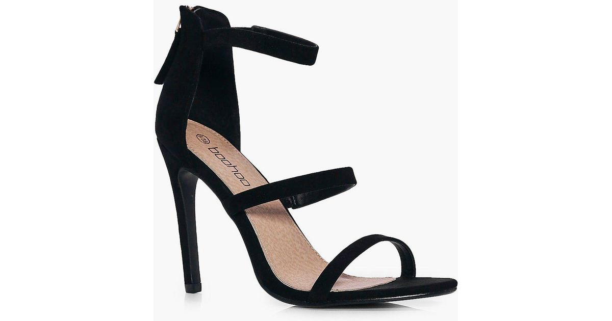 a5041d943a12 Boohoo Nancy Three Part Heels in Black - Lyst