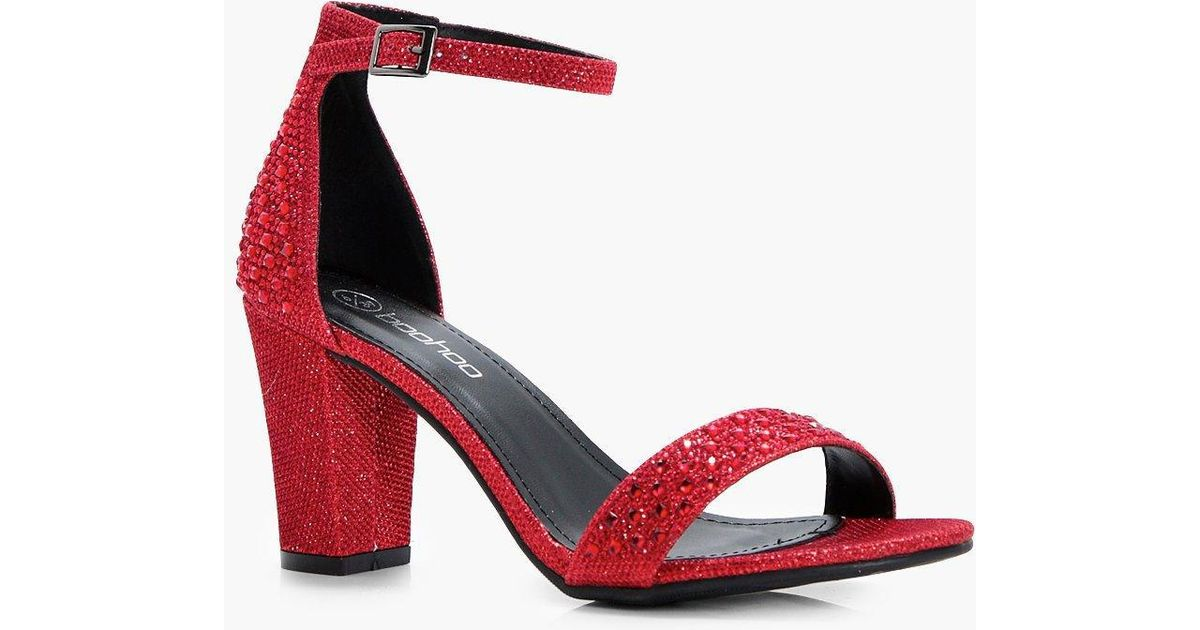 004a5d3337fb Lyst - Boohoo Tabitha Block Heel 2 Parts in Red
