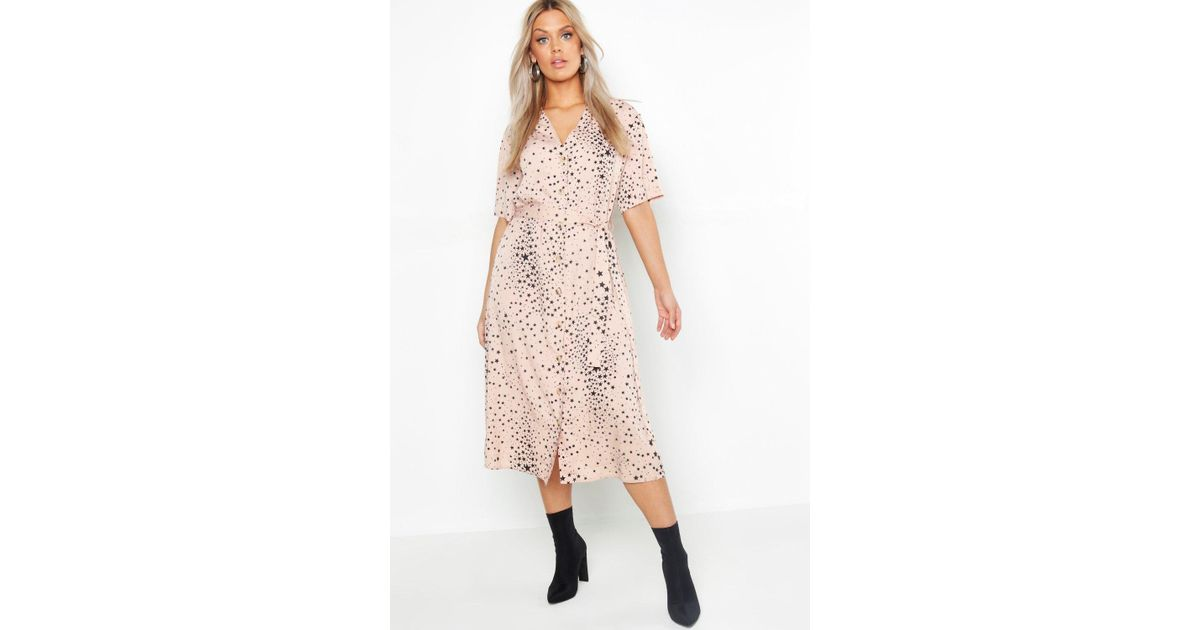 a32ddf97f2be Dresses Clothes, Shoes & Accessories Boohoo Womens Plus Star Print Button  Detail Midi Dress