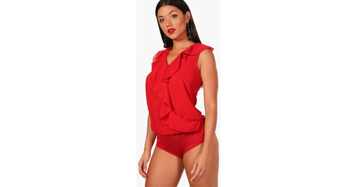 a0baf116ec Lyst - Boohoo Shanice Frill Sleeveless Bodysuit in Red
