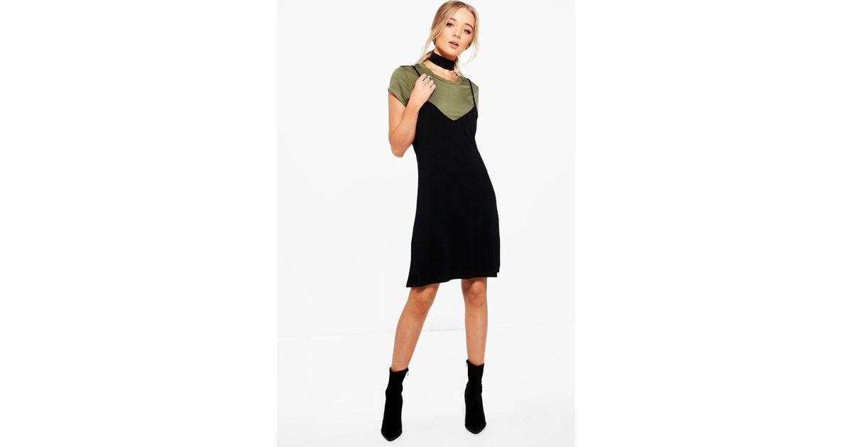 97f795e307a3 Lyst - Boohoo Yasmin Choker Detail 2 In 1 Slip Dress in Black