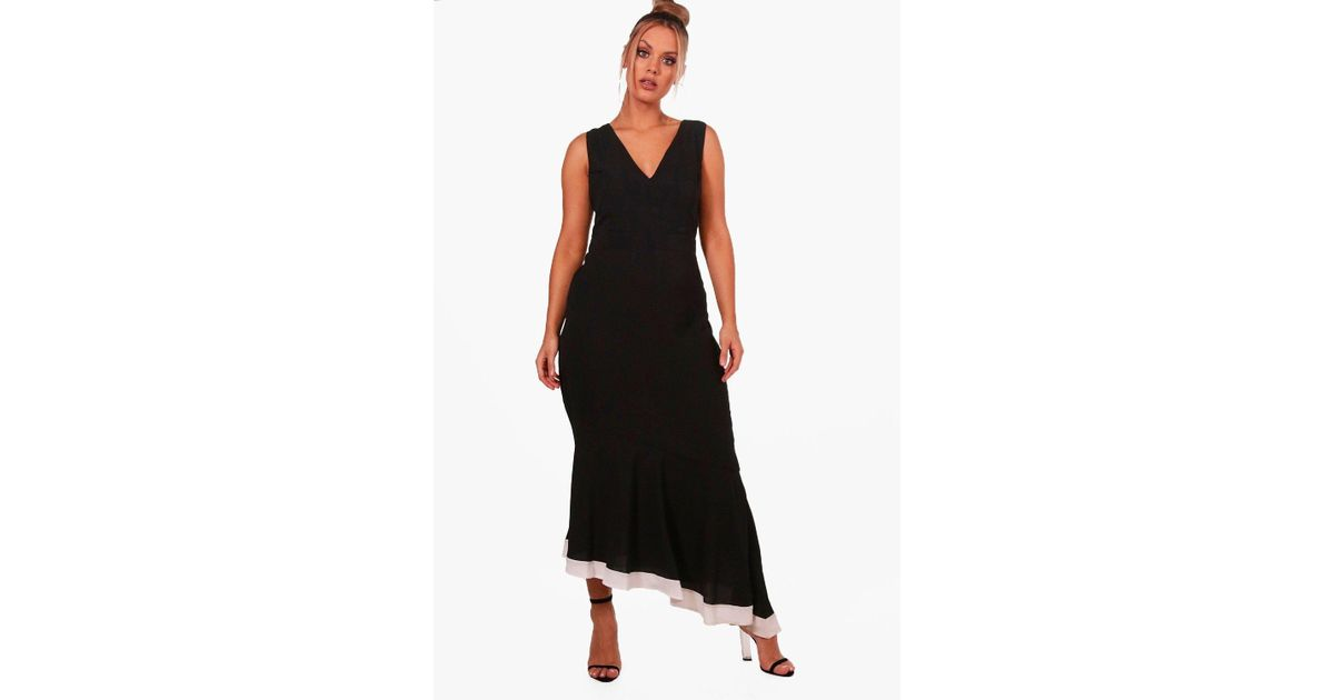 Cheap Sale Manchester Get Authentic Sale Online Boohoo Plus Ruffle Contrast Hem Midi Dress Cheap Sale Factory Outlet Free Shipping Manchester Outlet For Sale GVM8mgy2Y