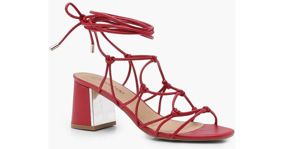 fine quality bright n colour good Boohoo Red Wide Fit Cage Tie Up Gladiator Sandals