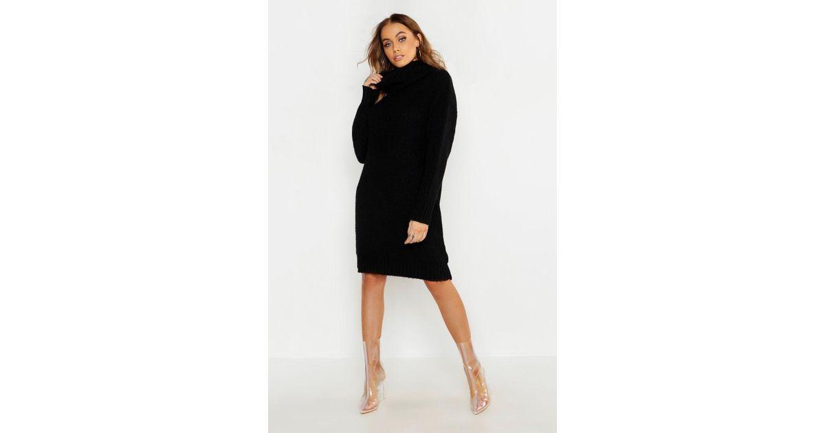 9e6add866c41c Lyst - Boohoo Oversized Roll Neck Soft Knit Jumper Dress in Black