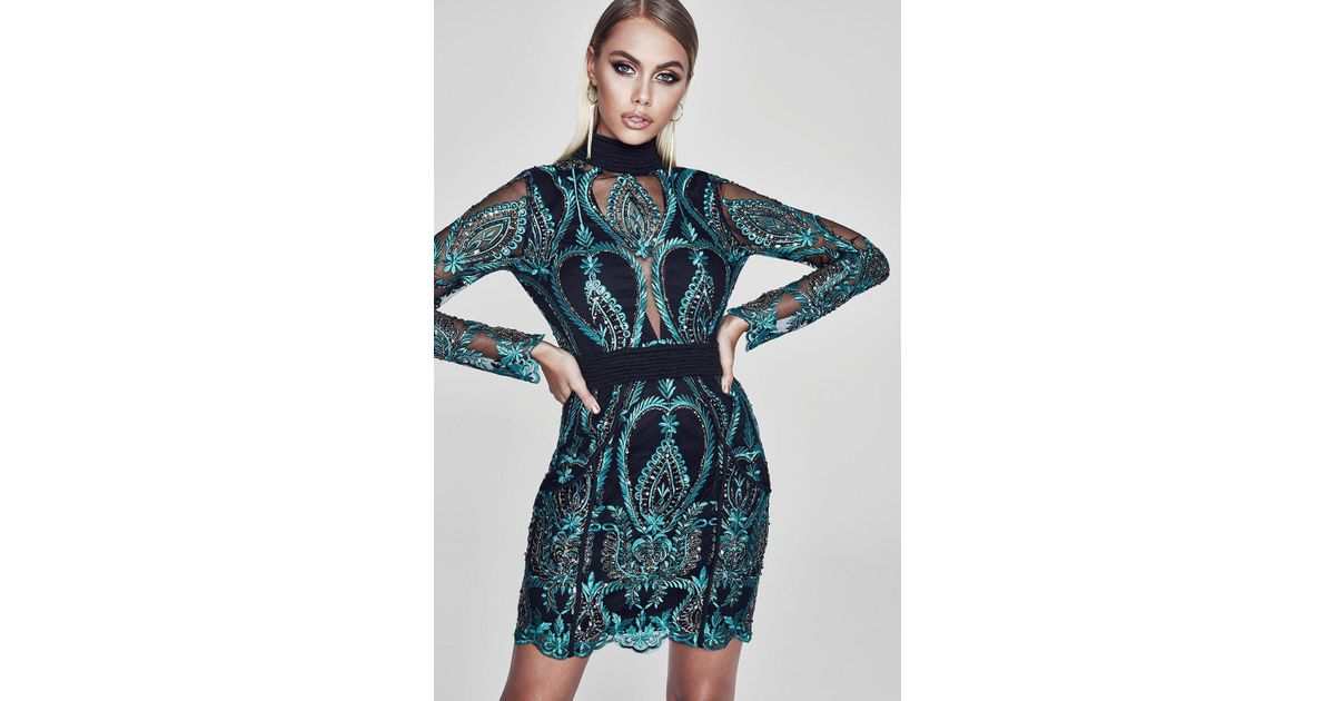 26253fa7 Boohoo Premium Isabelle Open Back Sequin Dress in Green - Lyst