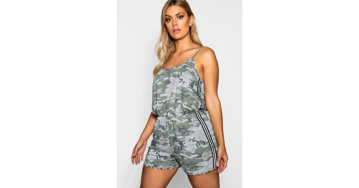 74abcf9d53 Boohoo Plus Camo Stripe Detail Playsuit in Green - Lyst