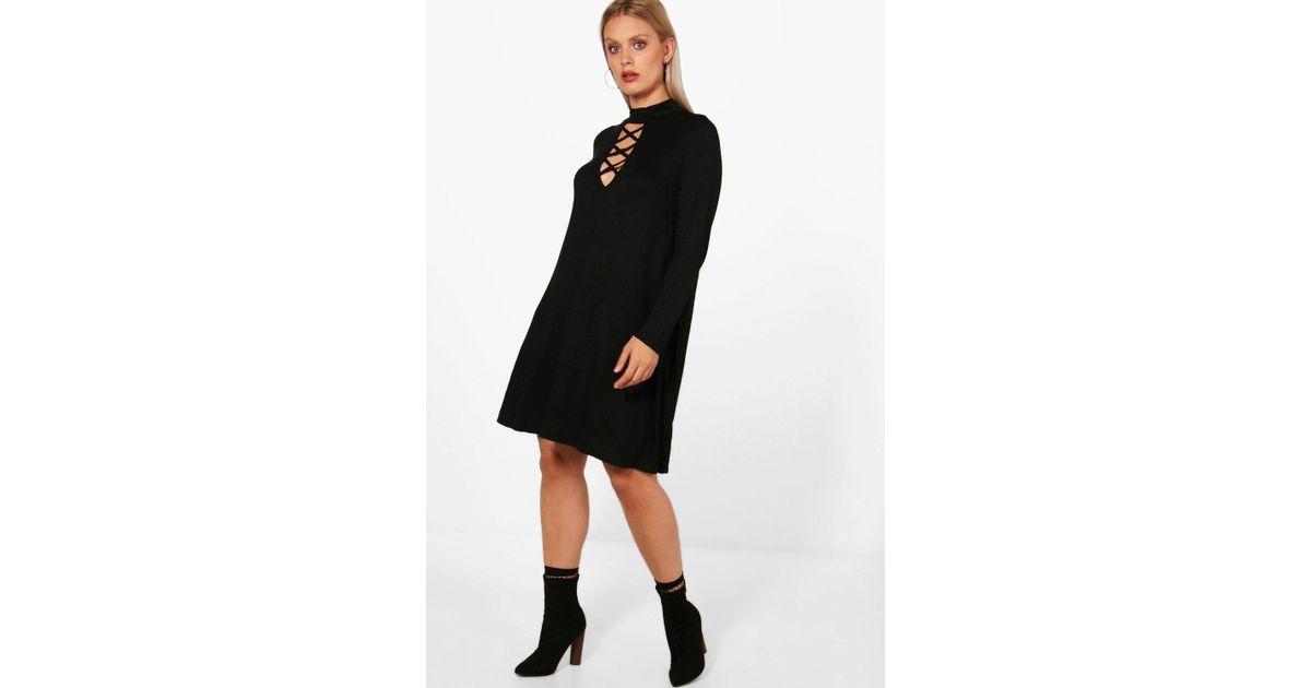 d40c11132038 Lyst - Boohoo Plus Tie Neck Long Sleeve Swing Dress in Black