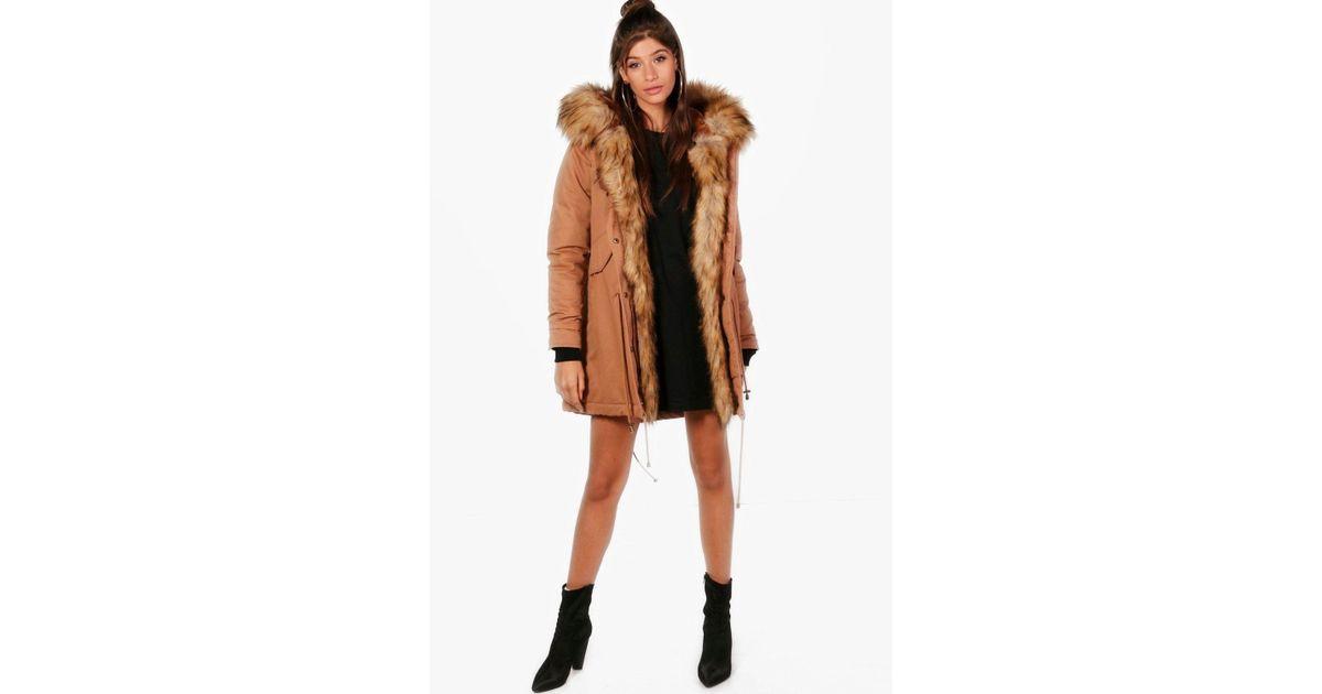 e575aa4eb Boohoo Multicolor Freya Boutique Faux Fur Trim Parka