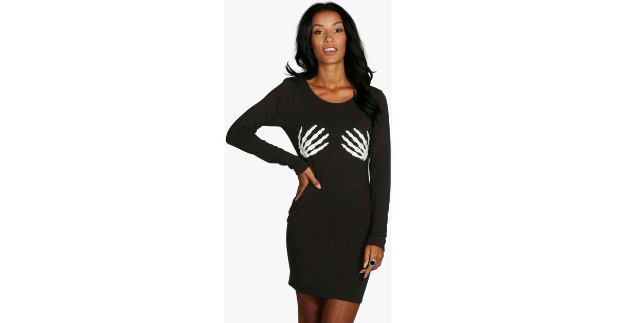 f7b8e7c7d50d Boohoo Halloween Glow In Dark Skeleton Bodycon Dress in Black - Lyst