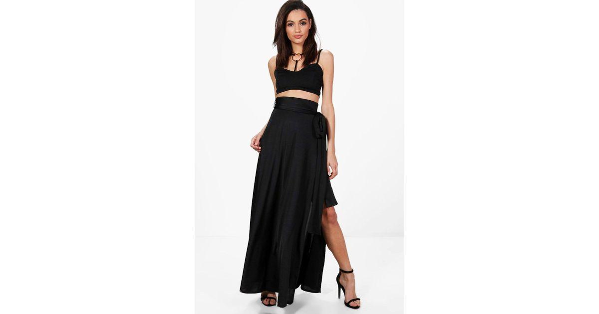 adf1fff34a Boohoo Mila Obi Tie Thigh Split Maxi Skirt in Black - Lyst