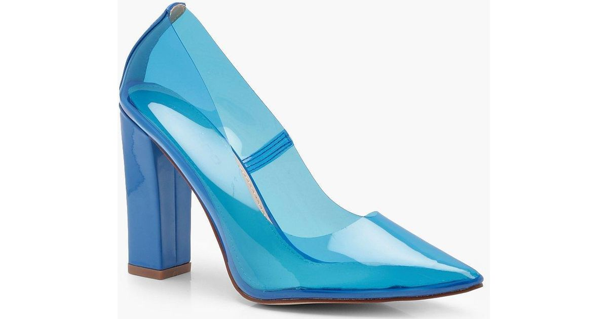 Lyst - Boohoo Emily Perspex Block Heel Courts in Blue