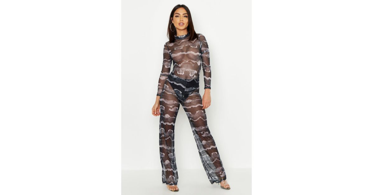 bb34f8654bf3 Boohoo Tie Dye Mesh Pant Lined Loose Leg Pants in Gray - Lyst