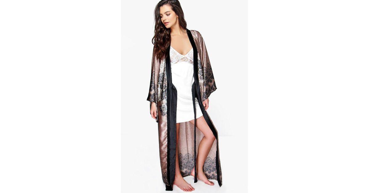 Lyst - Boohoo Paisley Satin Maxi Kimono Night Robe ed8443ae4