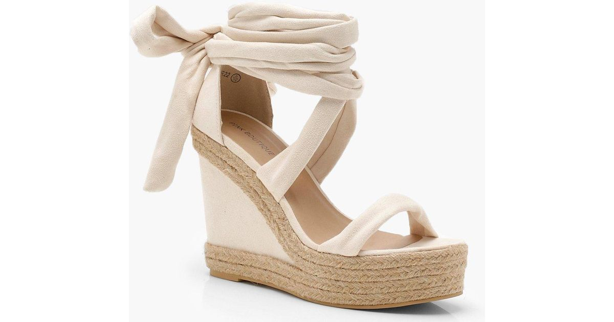 4dd5e9ed8a2 Lyst - Boohoo Wrap Up Espadrille Wedges in Natural