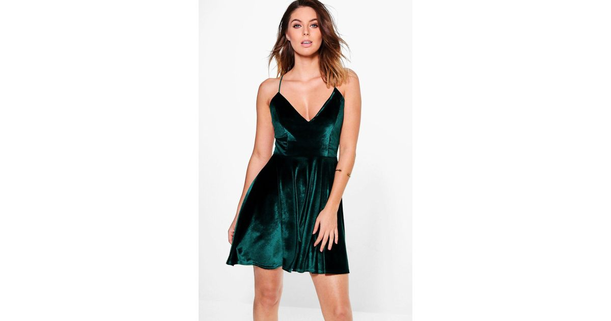 c8d773e54a8e7 Boohoo Paige Cross Over Strappy Skater Dress in Green - Lyst