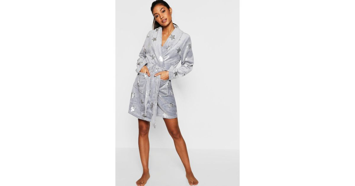 luxuriant in design good reputation search for best Boohoo Gray Foil Star Print Dressing Gown