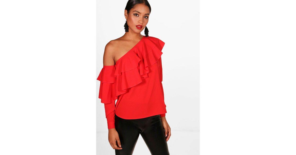 Red One Shoulder Blouse