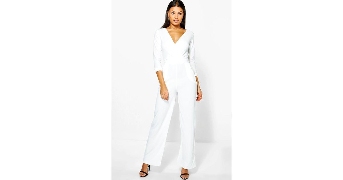 9bb63fa2531 Lyst - Boohoo Roll Sleeve Relaxed Wide Leg Jumpsuit in White