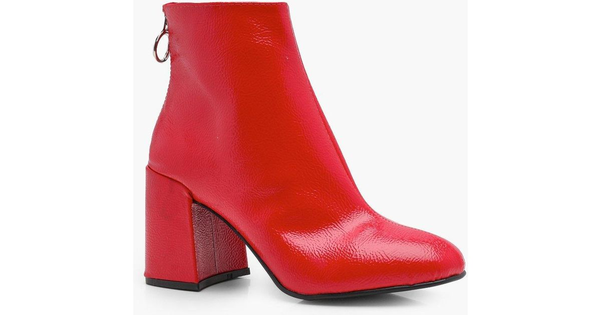 70260d45fb Boohoo Patent Block Heel Ankle Shoe Boots in Red - Lyst