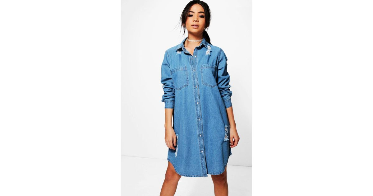 ee56fbe6573 Lyst - Boohoo Jenny Oversized Distressed Denim Shirt Dress in Blue