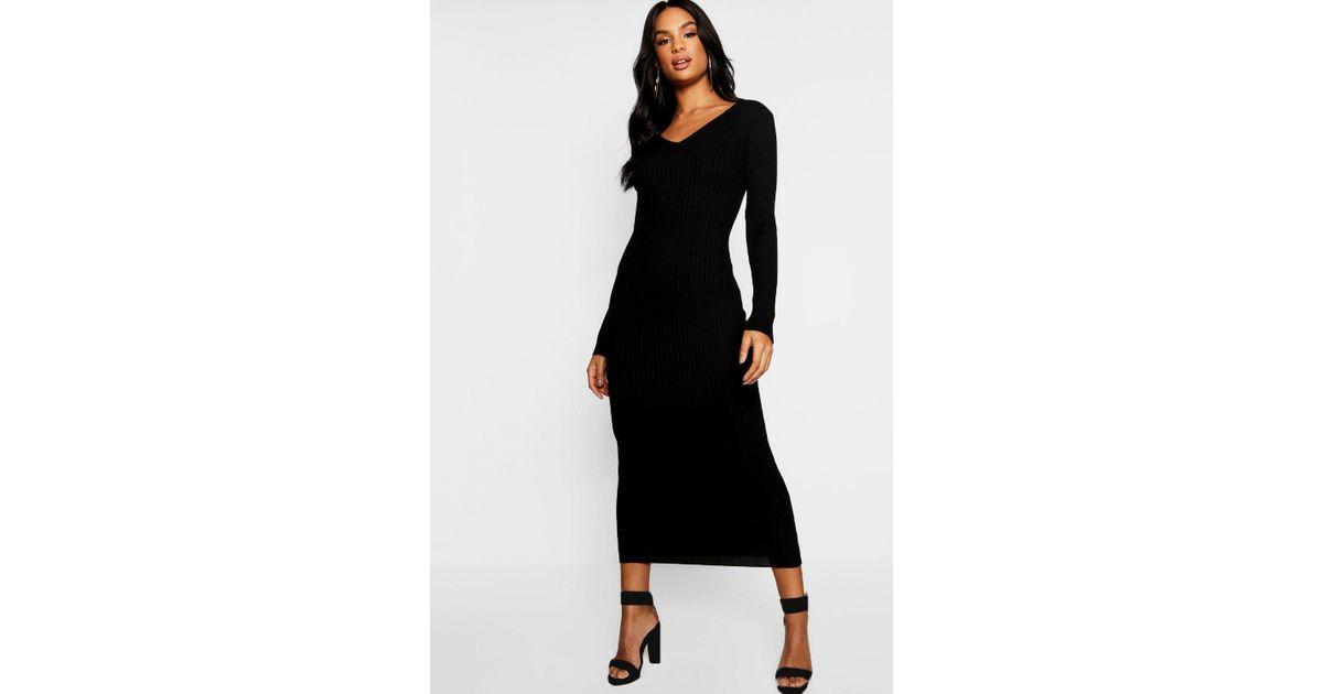 404dc23c07ec5 Boohoo Tall V Neck Rib Knit Midaxi Dress in Black - Lyst