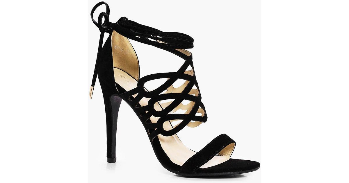 098309e18c2 Lyst - Boohoo Lucy Cage Wrap Ankle Heel in Black