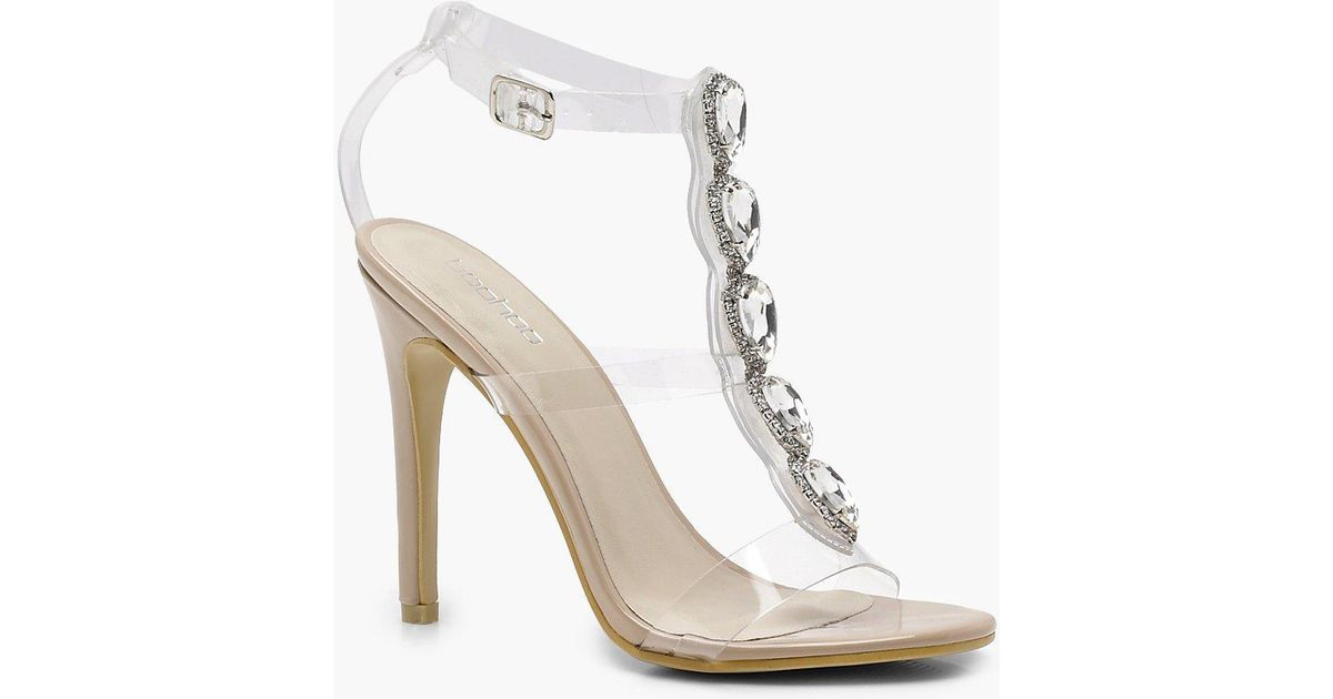 69700b7a1a1 Boohoo Embellished Cage Clear Heels - Lyst