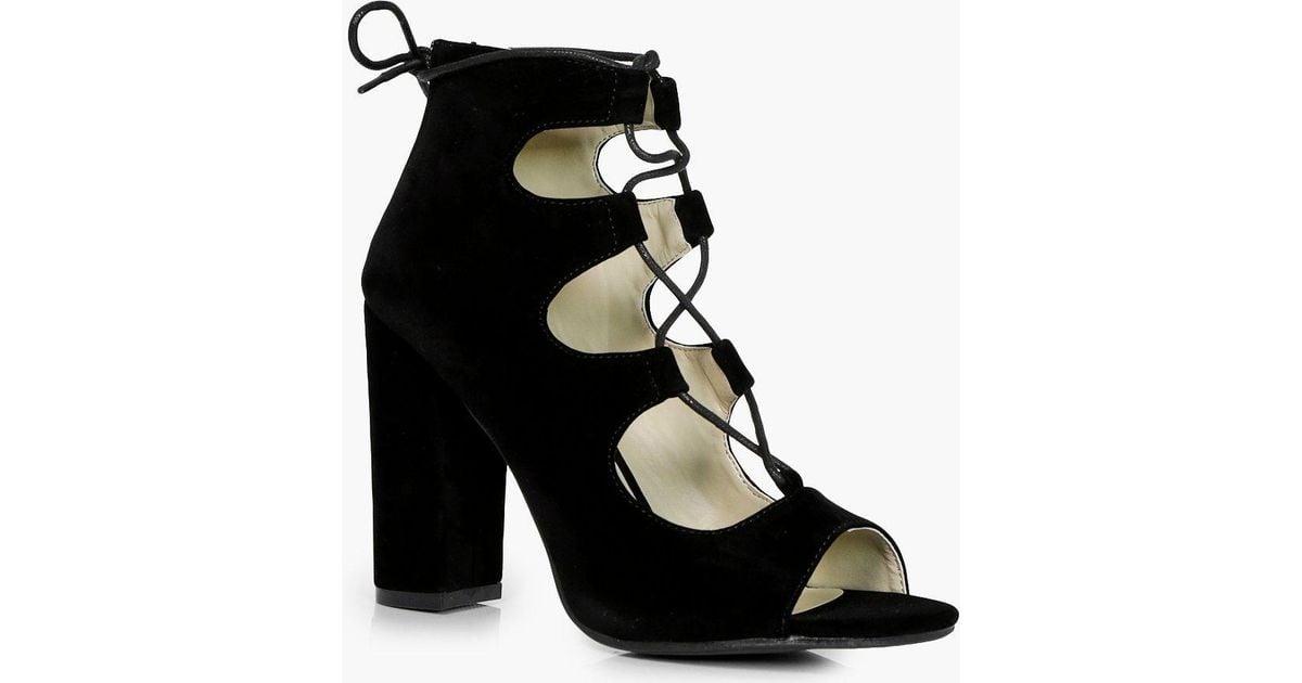 0cdcfaaa9199 Lyst - Boohoo Ghillie Lace Up Block Heels in Black
