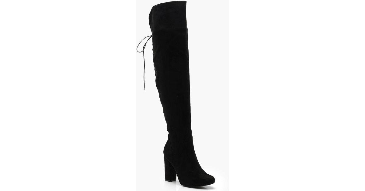 b3452637d20 Boohoo Black Lace Back Block Heel Over The Knee Boots