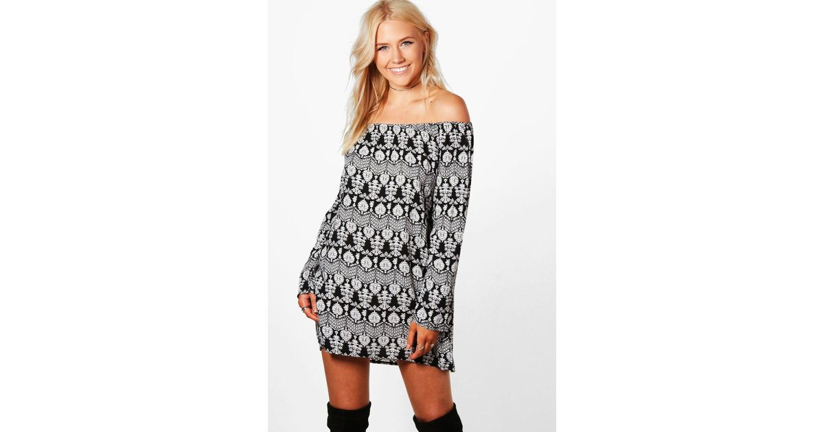 Boohoo Niki Aztec Printed Off Shoulder Shift Dress in Black - Lyst 7ed1406e2