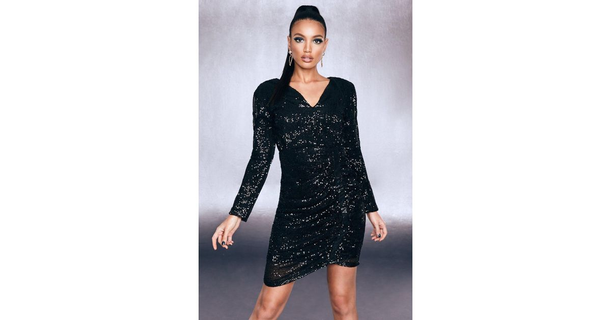 3bf8ab0ed98d9 Lyst - Boohoo Premium Sequin Ruched Side Bodycon Dress in Black