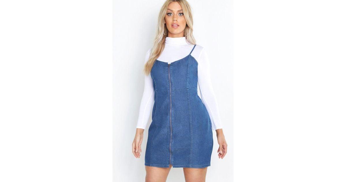 6c97d60116 Lyst - Boohoo Plus Zip Denim Pinafore Dress in Blue