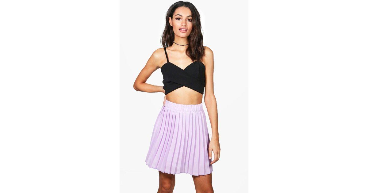 c0dc678e6 Boohoo Cate Chiffon Pleated Full Mini Skirt in Purple - Lyst