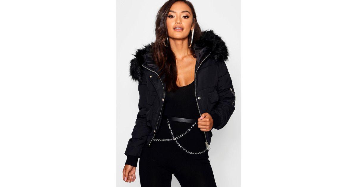 eae2717b105 Boohoo Black Petite Luxe Faux Fur Hood Sporty Cropped Coat
