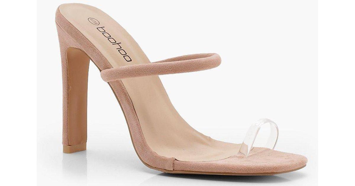 58aa4a5dbc0 Boohoo Natural Clear Toe Ring Skinny Mule Heels