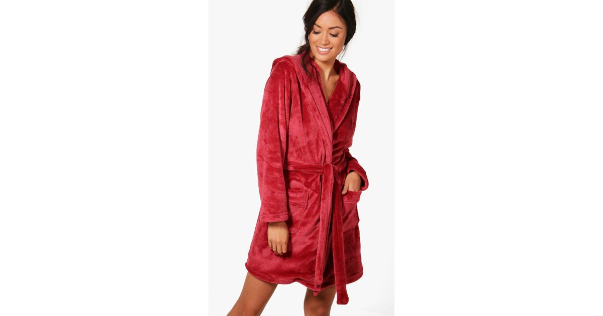 Lyst - Boohoo Lois Hooded Robe in Red
