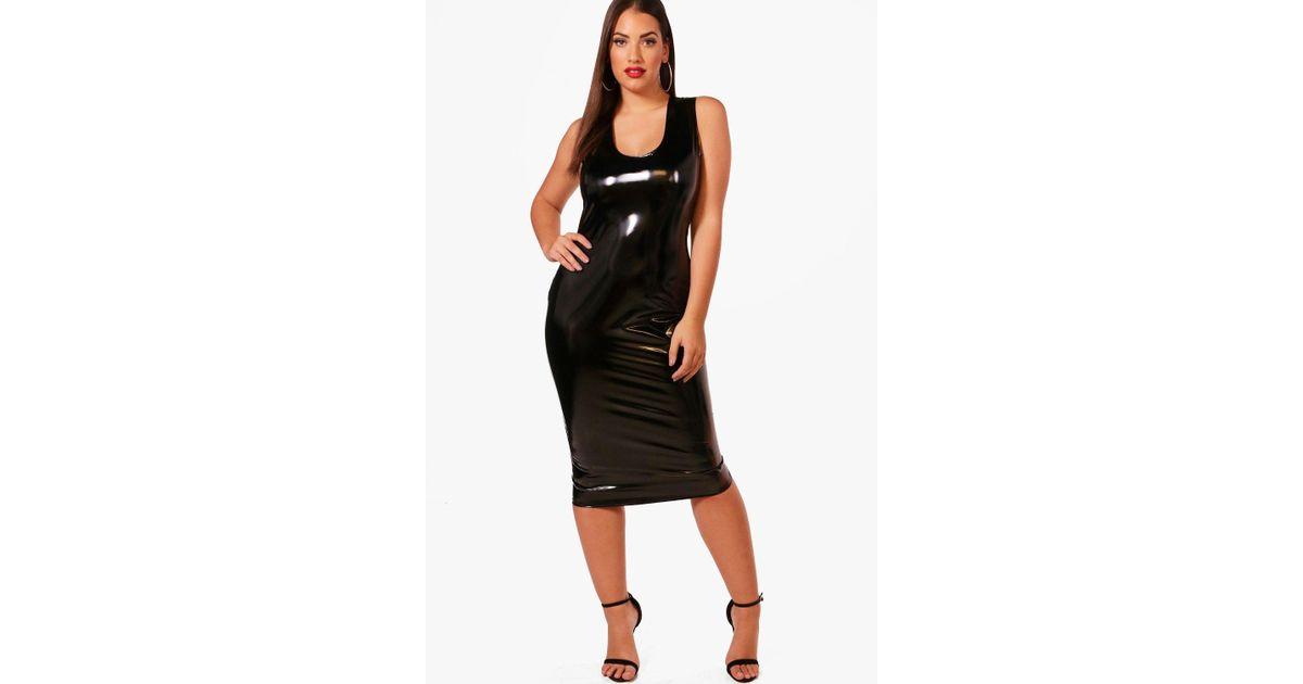 3d7c990d62d Boohoo Plus Vinyl Leather Look Midi Dress in Black - Lyst