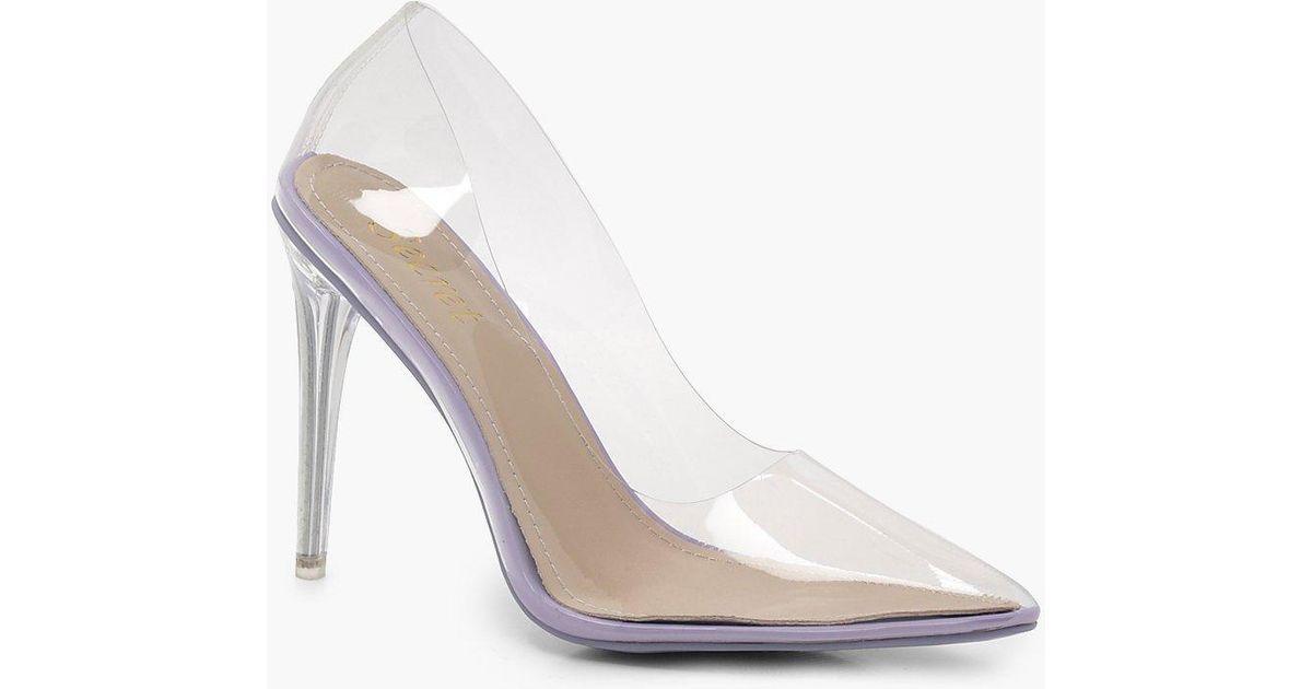 2e9bec40bf1 Boohoo Clear Court Heels in Purple - Lyst
