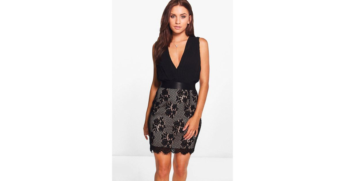 a5ee6d321414f Boohoo Black Boutique Jo Pleated Top Lace Skirt 2 In 1 Dress