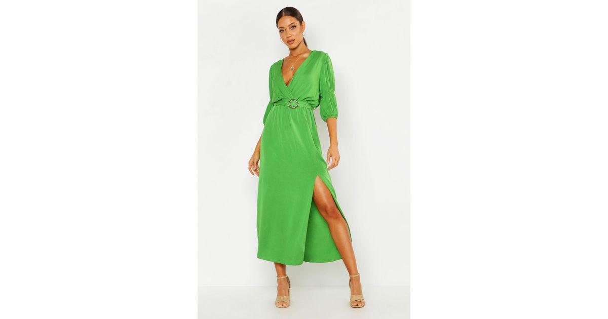 ff09596b6 Lyst - Boohoo Puff Sleeve Horn Buckle Midaxi Dress in Green