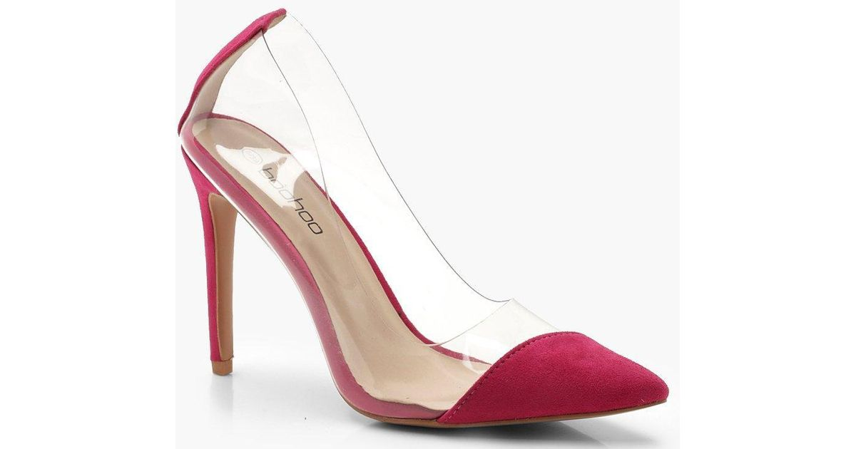 bb1880e7509 Lyst - Boohoo Clear Pointed Court Shoes in Pink