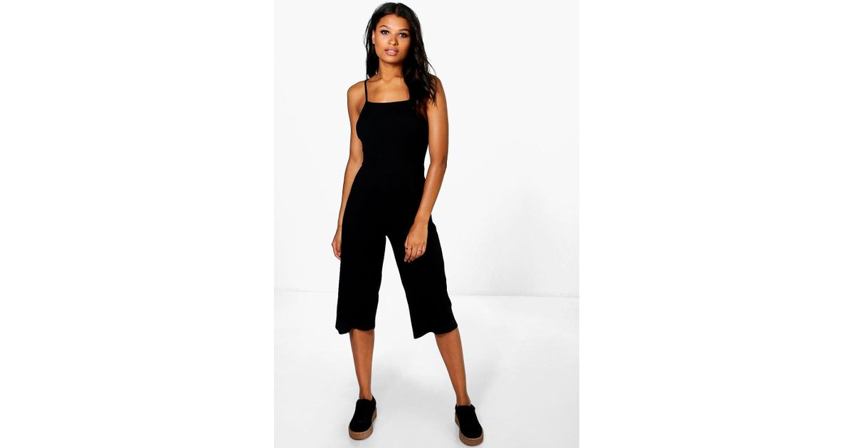 d8fe197bd13 Lyst - Boohoo Sarah Strappy Ribbed Culotte Jumpsuit in Black